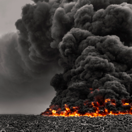 photograph of burning tires and a large cloud of black smoke, photography by mohammed alsultan catastrophe, disaster black smoke fire