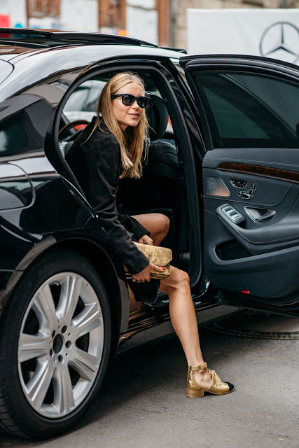 Street Style from Copenhagen | Pernille Teisbæk with Sunglasses; Gold Sandals and all black | the locals dk Read more: http://www.coolchicstylefashion.com/#ixzz3lUpmSxML